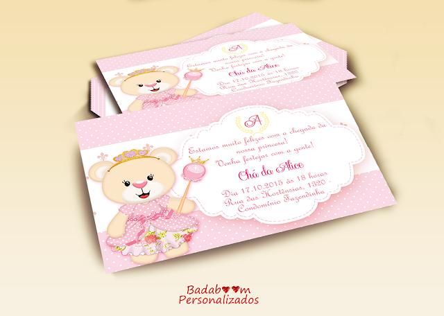 convite, chá de bebê, personalizados, arte digiral, ursa, princesa, rosa