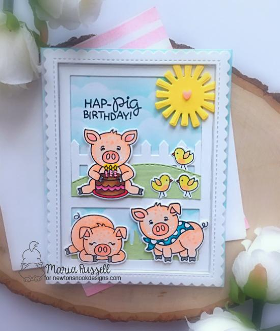 Pig Card by Maria Russell | Oink Stamp Set and Land Borders Die Set by Newton's Nook Designs #newtonsnook #handmade