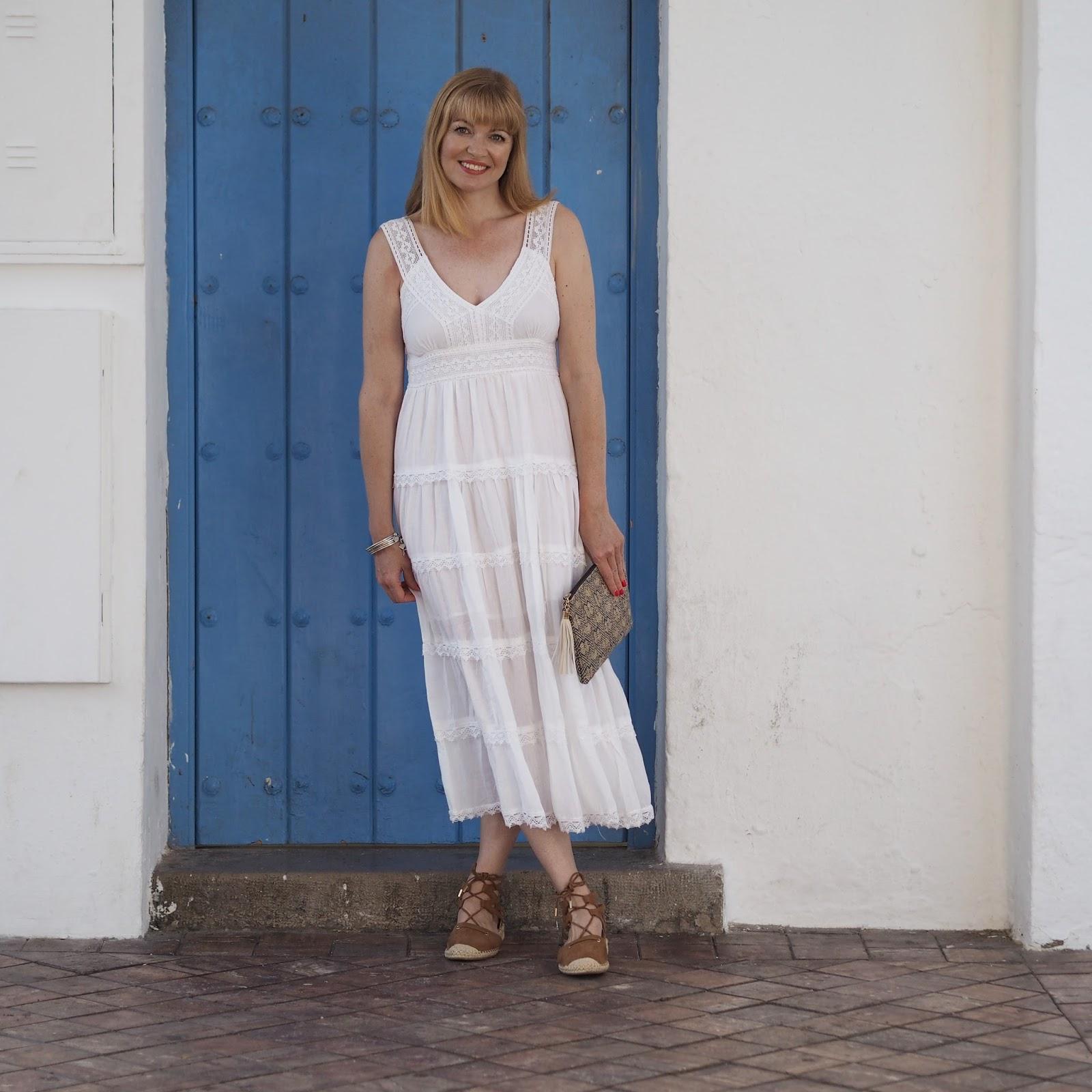 White summer midi dress and espadrilles, Nerja