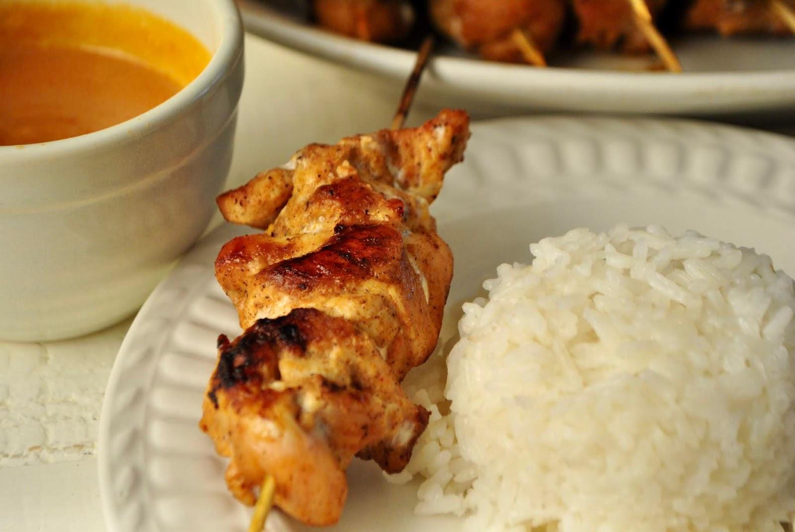 Authentic chicken thai satay with authentic thai peanut sauce