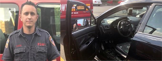 Bombero salva un niño de morir asfixiado en carro caliente rompiendo las ventanillas con  martillo