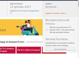 Rimuovere Amazon Prime