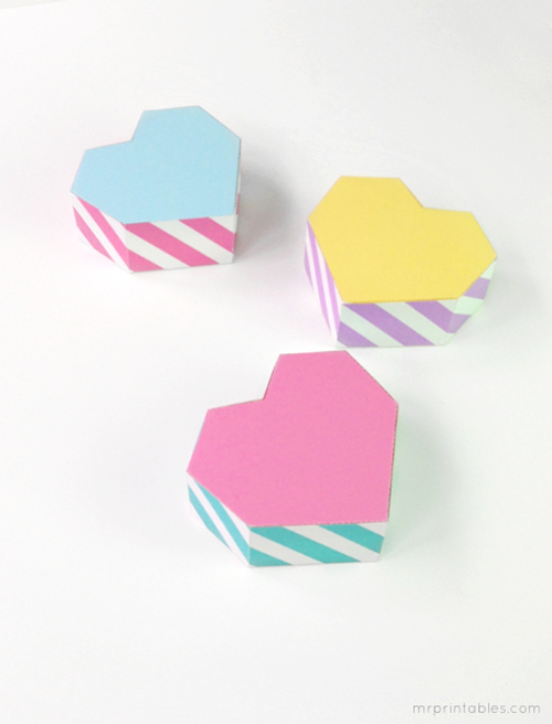 printable pastel heart favor boxes Free Printable Geometric Heart Shaped Gift Boxes for Valentines Day from Mr Printables