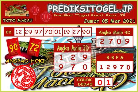 Prediksi Togel Toto Macau JP Jumat 05 Maret 2021