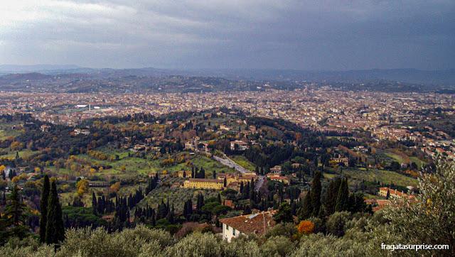 Florença e os campos da Toscana vistos de Fiésole