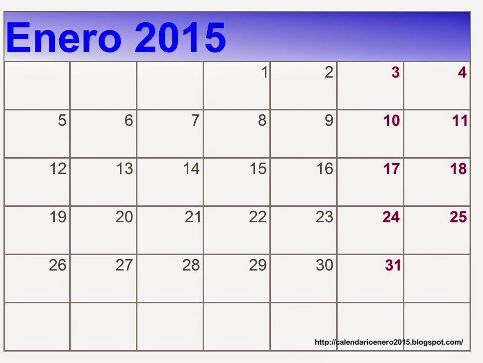 Calendario Enero 2015 Gratis En Formato Word, PDF, Excel