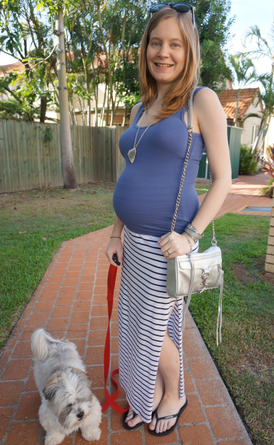 Jeanswest singlet Atmos&Here striped maxi skirt RM silver mini MAC 3rd trimester