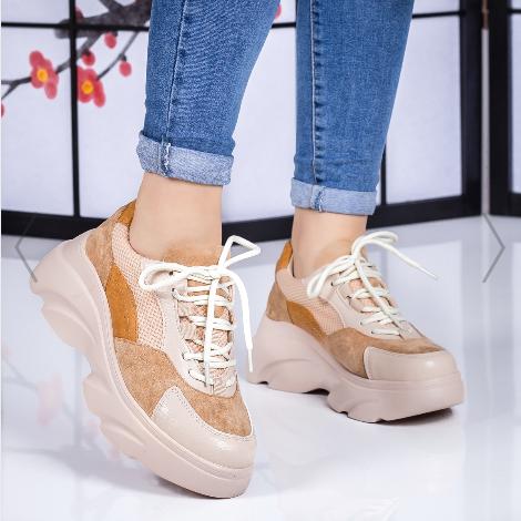 Pantofi sport dama bej cu talpa inalta la moda de vara