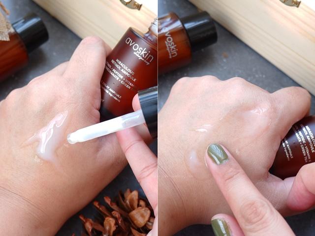 review tekstur Avoskin Miraculous Retinol Ampoule