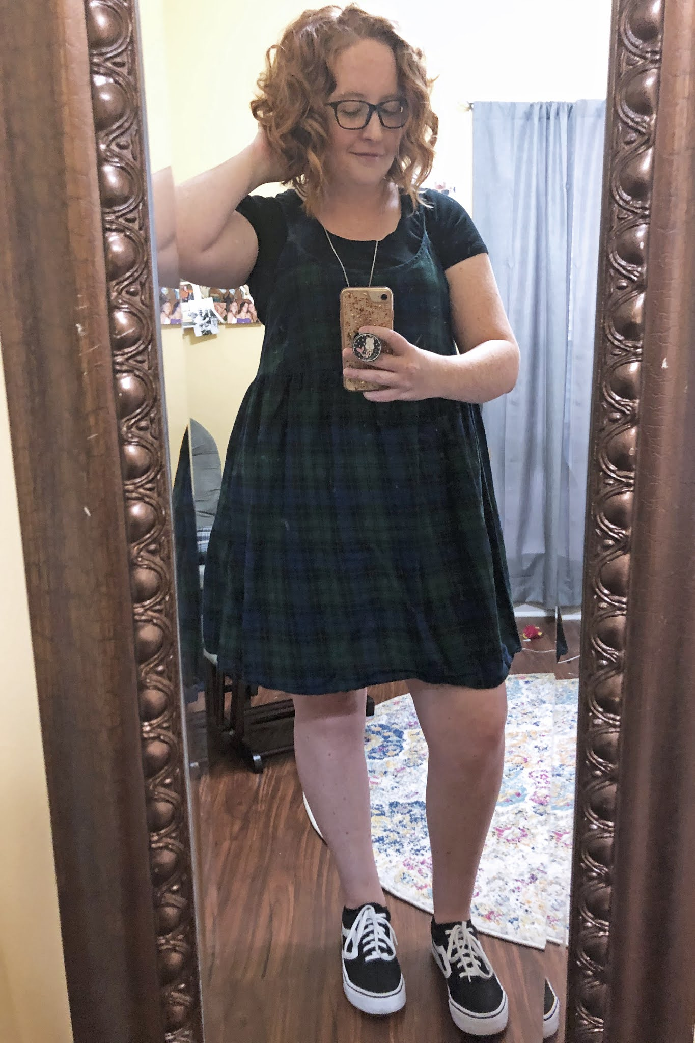 plaid dress over black tshirt