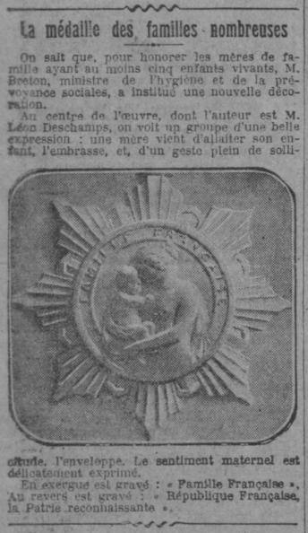 Médaille des familles nombreuses