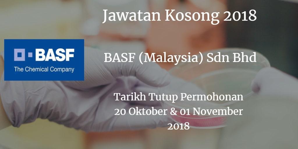 Jawatan Kosong BASF (Malaysia) Sdn Bhd 20 Oktober & 01 November 2018