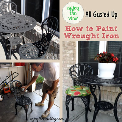 three photos showing different steps in painting wrought iron furniture
