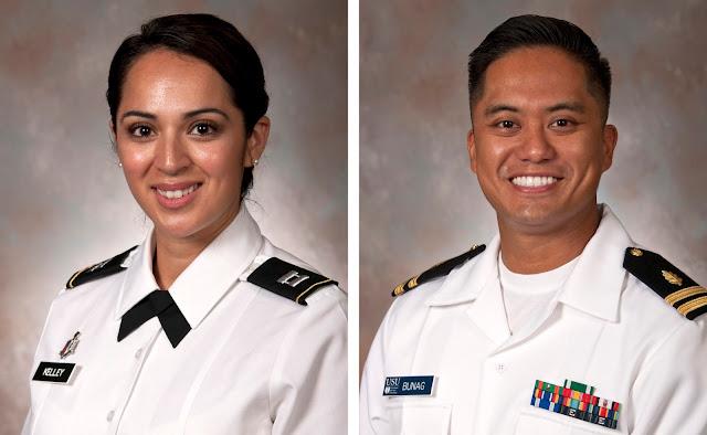 Army Maj. Crystal Kelley (left) and Navy Lt. Christopher Bunag (right)