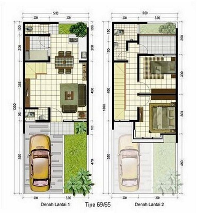 denah rumah minimalis 2 lantai kreatif