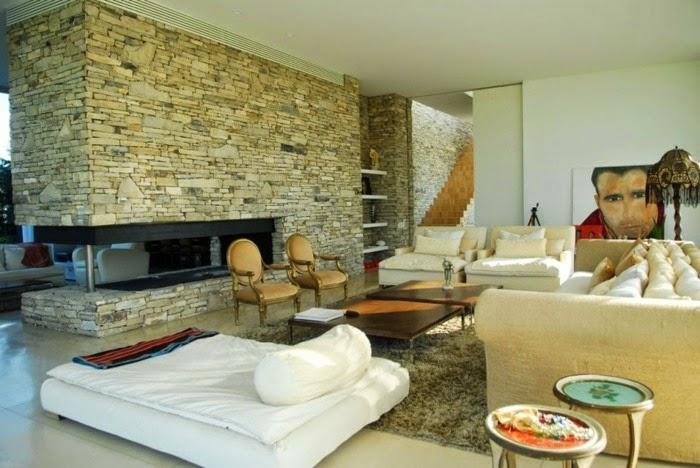 Fotos de salas con paredes de piedra colores en casa - Paredes con piedra ...