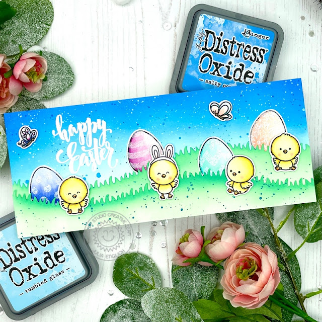 Sunny Studio Stamps: Eggs To Dye For Chickie Baby Slimline Dies Easter Card by Julia Englich