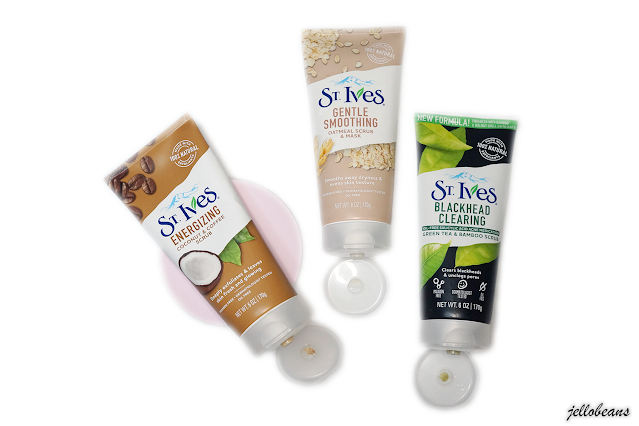 St. Ives Face Scrubs Energizing Coconut and Coffee Scrub, Gentle Smoothing Oatmeal Scrub and Mask, Blackhead Clearing Green Tea and Bamboo Scrub