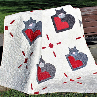 wrap up some love-cat-kitty-heart-love-valentines-quilt-quilt pattern-lap quilt-red