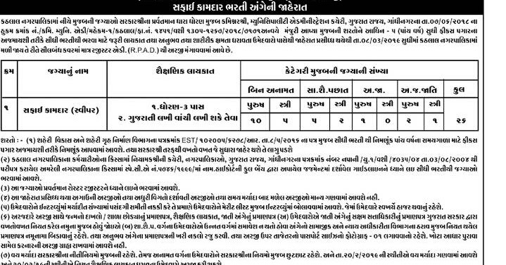 Kathlal Nagarpalika Recruitment For Sweeper Post 2019