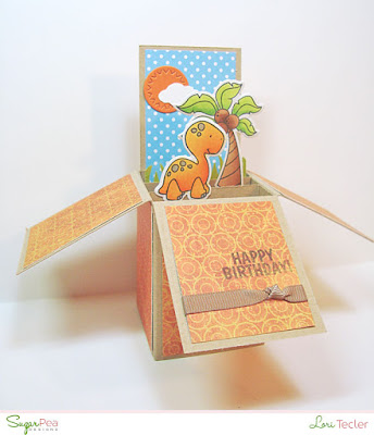 Happy Birthday pop up box card-designed by Lori Tecler/Inking Aloud-stamps and dies from SugarPea Designs
