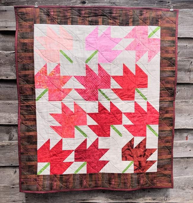 Maple Leaf batik quilt