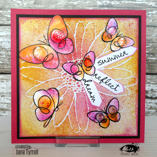 daisy stencil | canvas | butterfly stamps