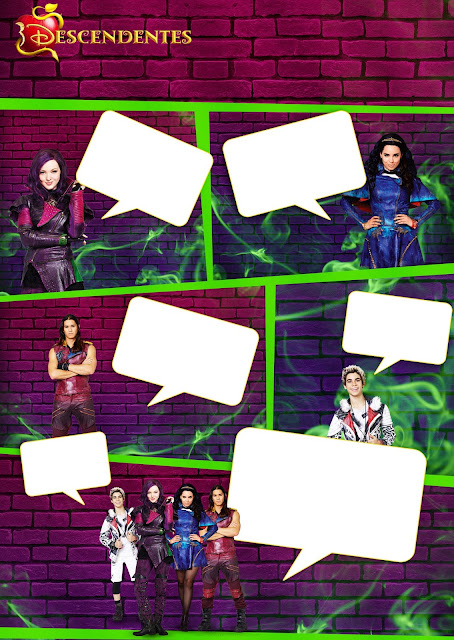 Descendants Party Free Printable Invitations, Labels or Cards.