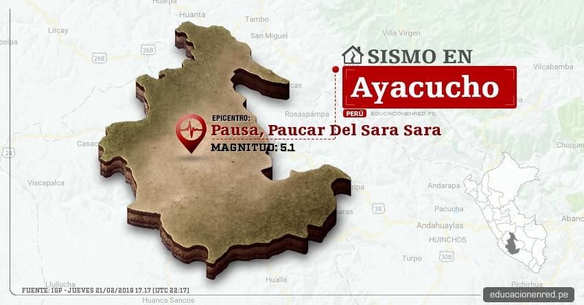 Temblor en Ayacucho de Magnitud 5.1 (Hoy Jueves 21 Febrero 2019) Sismo Epicentro Pausa, Paucar Del Sara Sara - IGP - www.igp.gob.pe