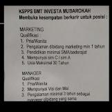 Lowongan Kerja KSPPS BMT Investa Mubarokah Cianjur