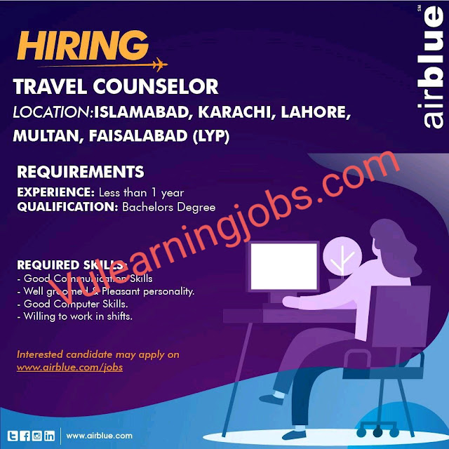 Air Blue Jobs 2020 In Pakistan For Travel Counselor Latest