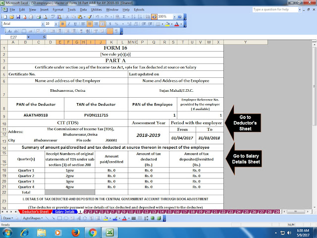 Free Download Automated Master of Form 16 Part A&B for F.Y. 2019-20 and Automated Arrears Relief Calculator U/s 89(1) for F.Y. 2019-20 With Easy Investments to Save Tax u/s 80C 4