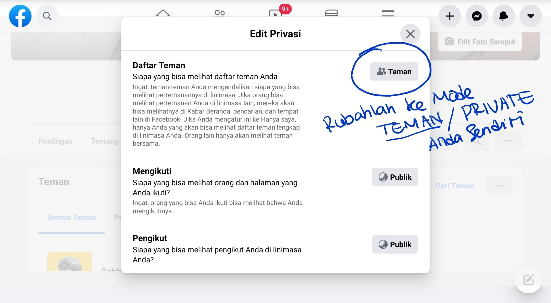edit privacy teman facebook
