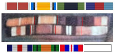 Auto-colorized close-up of Stephens' ribbon bar with matching medal ribbons.