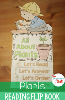 Plants Flip Book- reading, comprehension, science, and writing activities for hands-on learning for primary kids