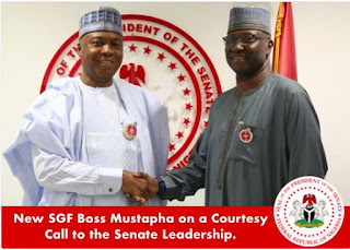 New SGF, Boss Mustapha Visits Saraki at National Assembly... Find Out His Mission