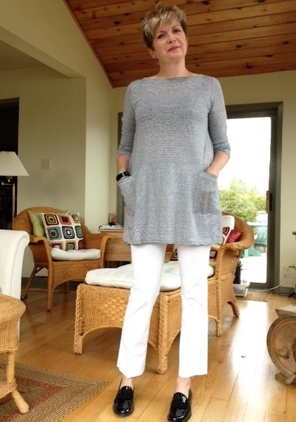 Eileen Fisher grey and white striped tunic, black Stuart Weitzman loafers, DIY kick flare jeans.
