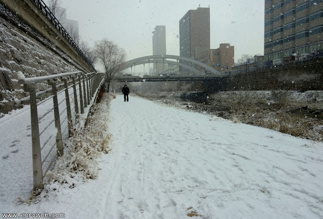 Arroyo Cheonggyecheon de Seúl tras una nevada