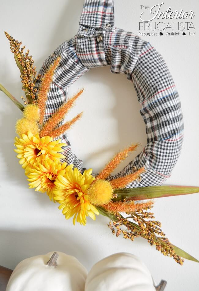 Flannel Shirt Repurposed Fall Wreath