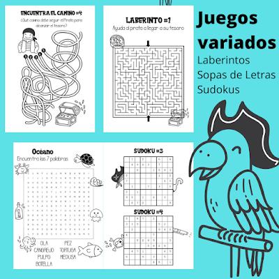 actividades, libro, piratas, infantil, ingles, matematicas, laberintos, sudokus, sopas de letras, colorear