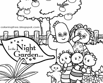 Straightforward illustration suggestions in the night garden coloring cartoon drawings for beginners
