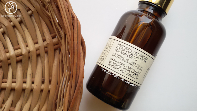 Junaili Apricot Face Oil Ingredients