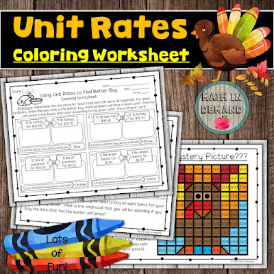 Unit Rates Thanksgiving Coloring Activity Better Buy