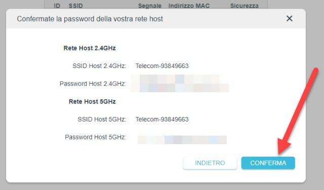 reti e password prescelte per il dual band
