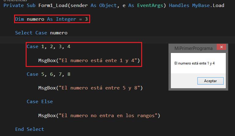 Estructuras condicionales en Visual Basic :: Select case