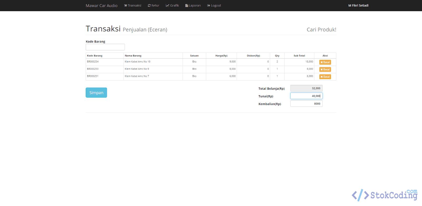 Aplikasi Penjualan POS Berbasis Web (Codeigniter)
