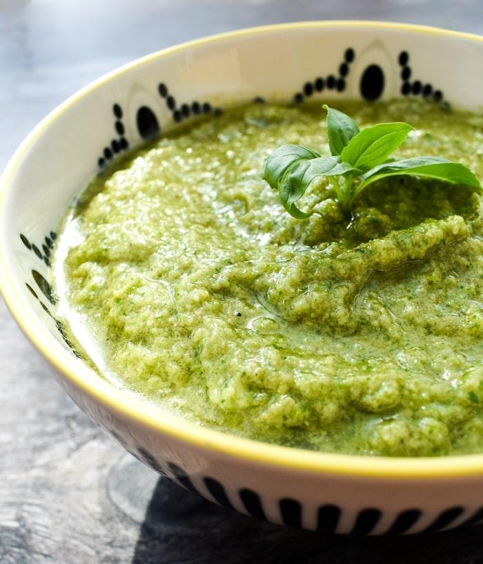 tenderstem broccoli pesto in a white bowl