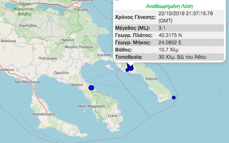 Νέοι σεισμοί 3,1 και 3 Ρίχτερ σε Άγιο Όρος και Βουρβουρού