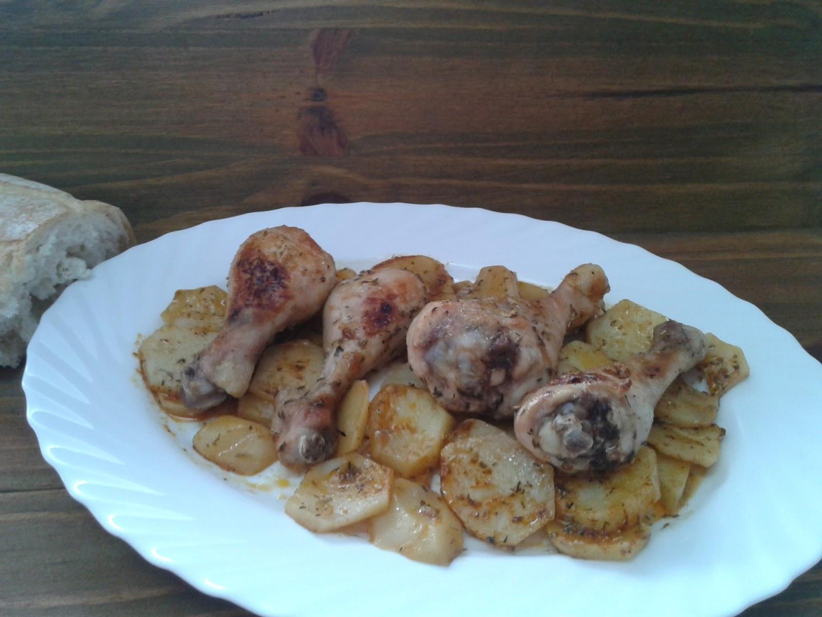 Recetas con encanto muslitos de pollo al ajo y piment n - Muslitos de pollo ...