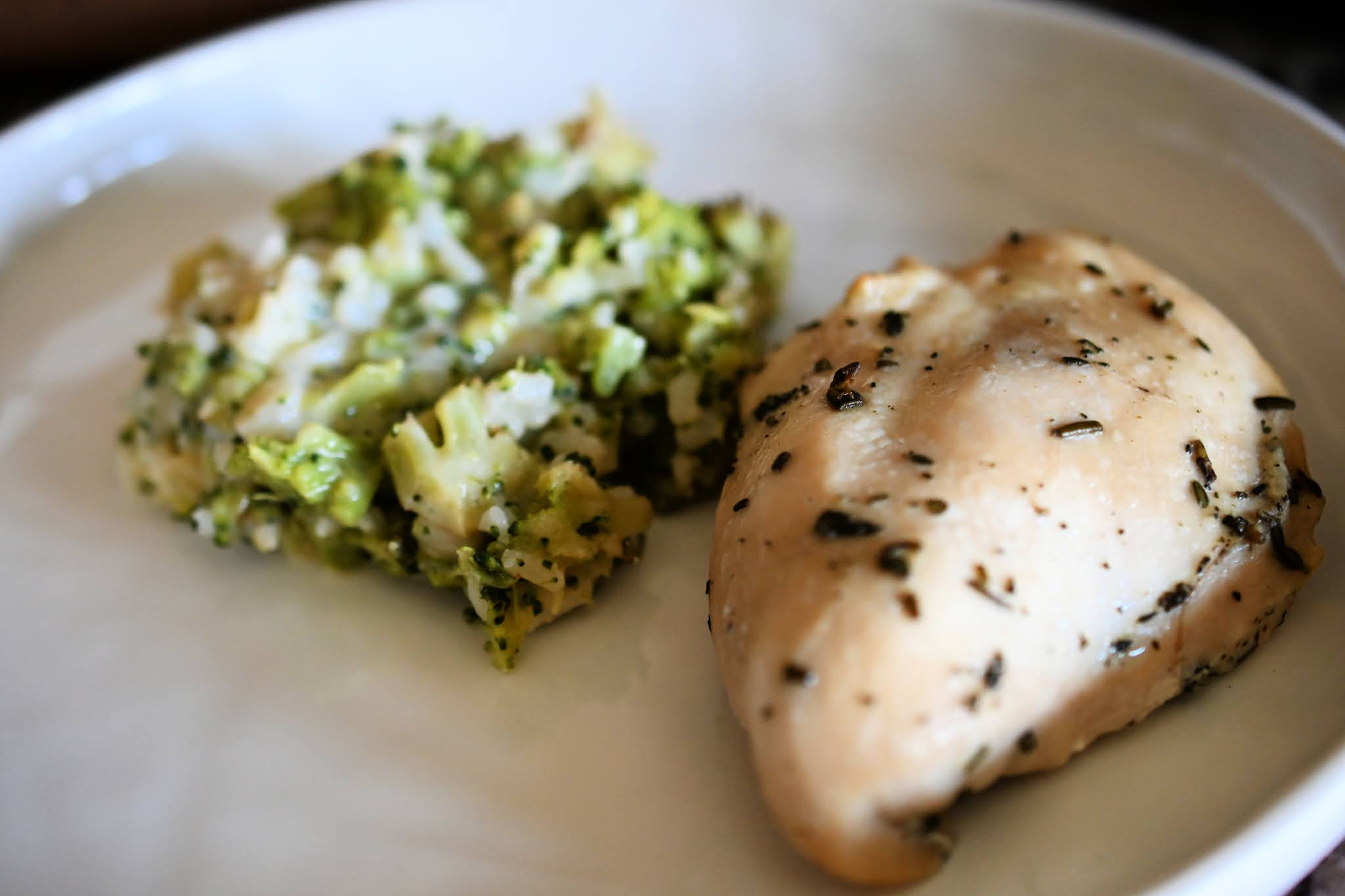 Herb Roasted Chicken and Cheesy Broccoli Pilaf
